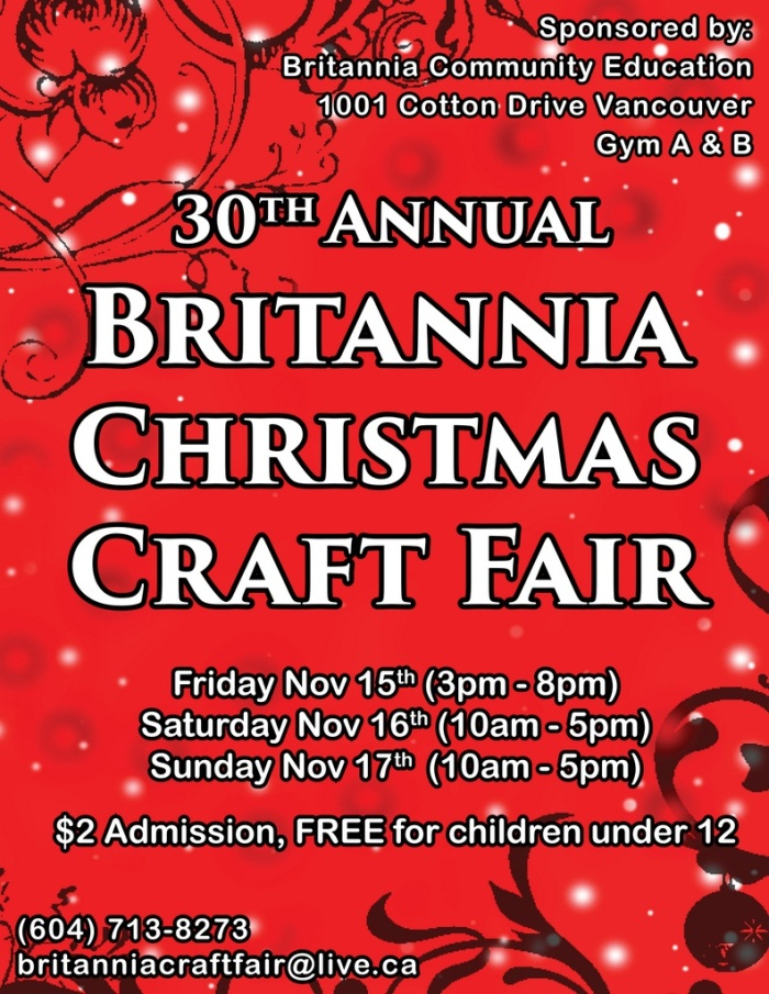 30th Annual Britannia Christmas Craft Fair poster(1)