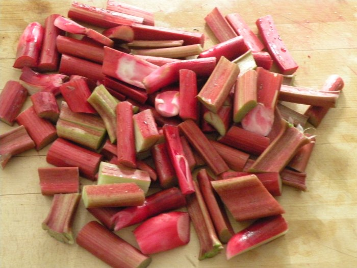 Chopping Rhubarb in Le Meadow's Kitchen